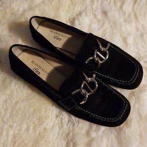 Anne Klein Black Suede Loafers